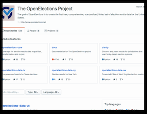 screenshot of OpenElections GitHub page